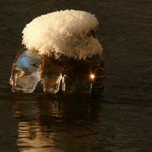 Bizarres Objekt im winterlichen Fluss