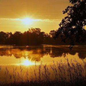 Sonnenaufgang über dem Schwarzenbörner Teich