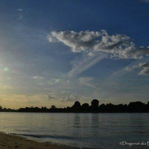 Köln/Rhein mit Sonnenuntergang