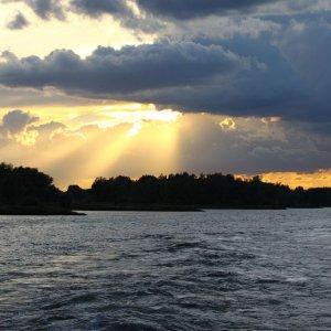 Sonneuntergang an der Waal